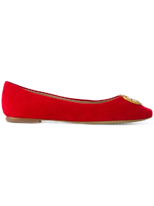 Tory Burch 10mm Chelsea Suede Ballerina Flats In Red