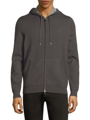 Lacoste Minimalistic Zipped Jacket In Graphite Mill Blue