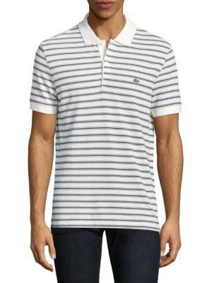 Lacoste Short-sleeve Striped Cotton Polo In Flour Blue