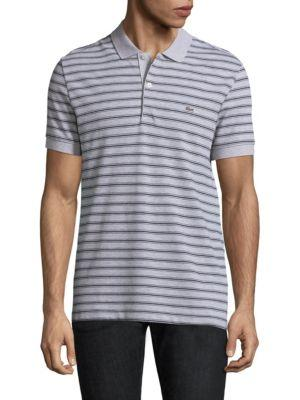 Lacoste Short-sleeve Striped Cotton Polo In Silver Grey