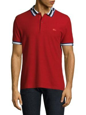 Lacoste Short-sleeve Striped Cotton Polo In Ladybug Red