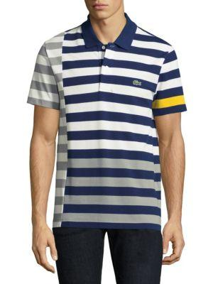 Lacoste Short-sleeve Striped Cotton Polo In Blue