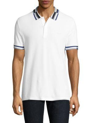 Lacoste Short-sleeve Striped Cotton Polo In White