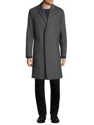 Theory Bower Wool-blend Top Coat In Light Charcoal