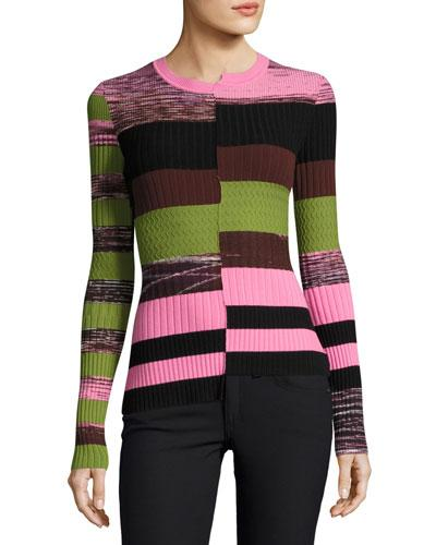 Opening Ceremony Woman Asymmetric Printed Ribbed-knit Sweater Pink In Cactus Pink Multi