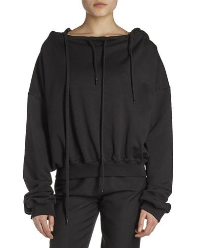 Balenciaga Off-the-shoulder Hoodie Sweatshirt In Noir