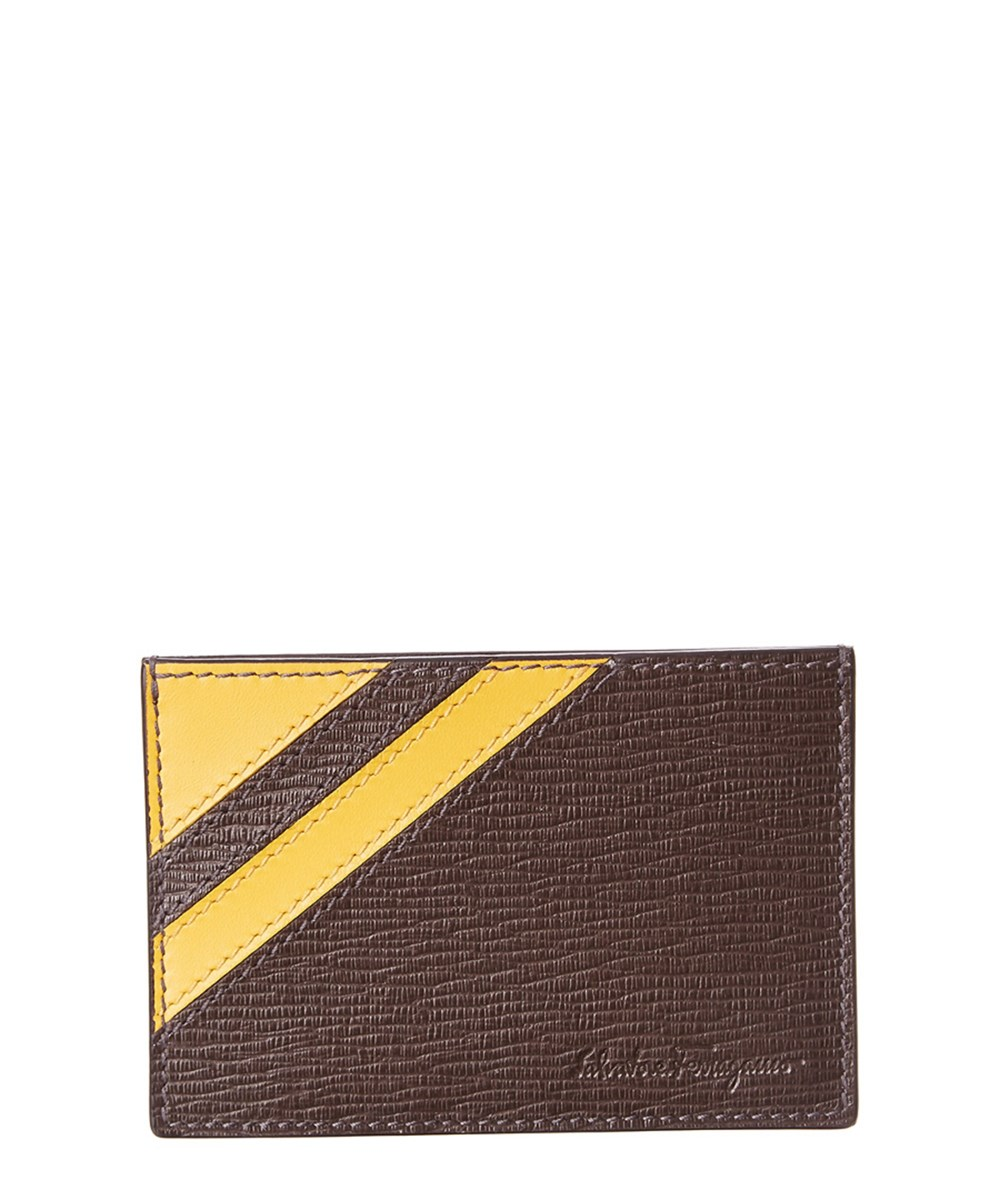 Salvatore Ferragamo Revival Graf Leather Card Holder In Brown Multi