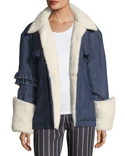 Maggie Marilyn Made For Greatness Oversized Denim Jacket W/ Shearling In Blue