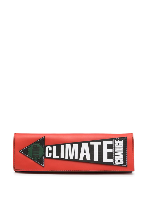 Vivienne Westwood U Get Out What U Put In Printed Leather Clutch In Red