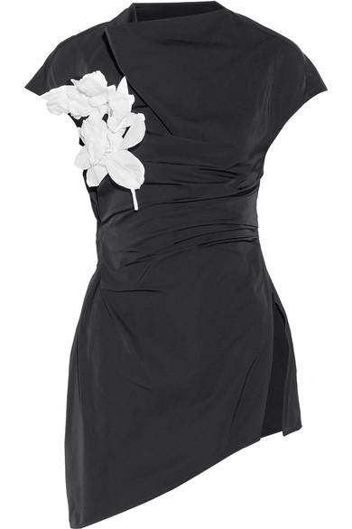 Rosie Assoulin Cutout Floral-appliquÉd Taffeta Top