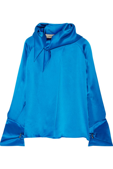 Marques' Almeida Scarf Silk-satin Blouse In Cobalt Blue