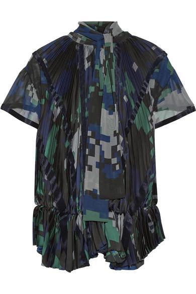 Sacai Velvet-trimmed Pleated Printed Chiffon Blouse