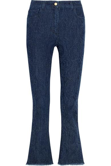 Etro Cropped Paisley-detailed High-rise Bootcut Jeans In Blue
