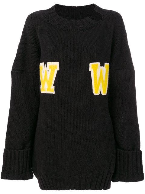 Off-white Oversized Ww Sweater In Black-yellow