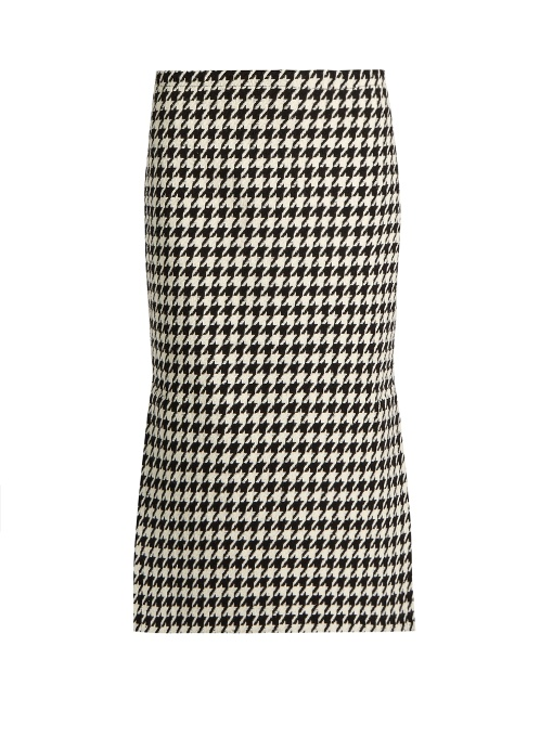 Marni Hound's-tooth Wool-blend Pencil Skirt In Black White
