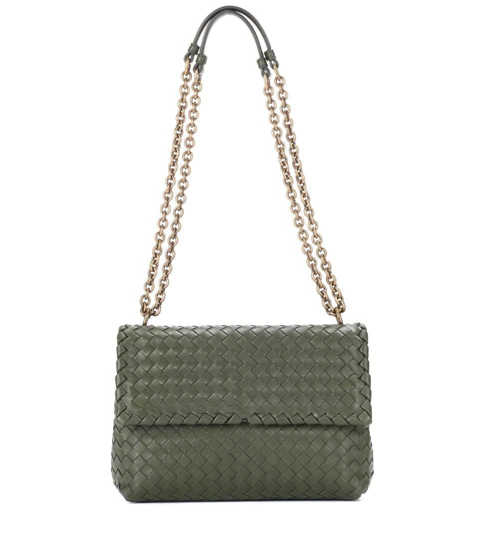 Bottega Veneta Olimpia Small Leather Shoulder Bag In Green