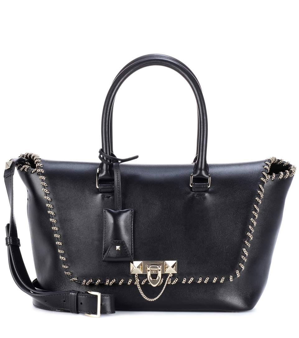 Valentino Garavani Demilune Small Leather Shoulder Bag In Black