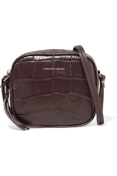 Alexander Mcqueen Croc-effect Leather Camera Bag In Burgundy