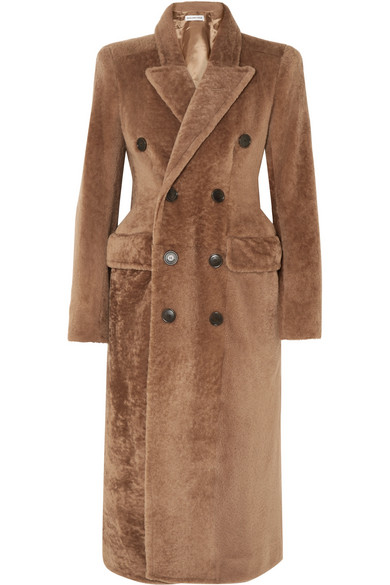Balenciaga Double-breasted Shearling Coat In Brown