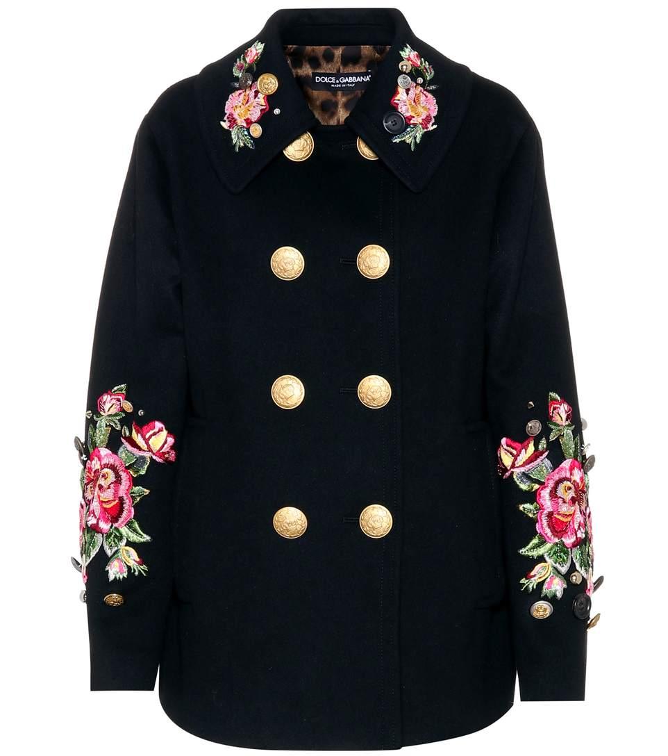 Dolce & Gabbana Embellished Wool And Angora Coat In Eero
