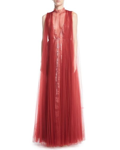 Valentino Sleeveless Tulle-Overlay And Lace Gown In Red