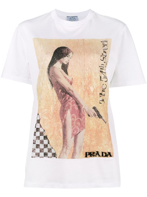 Prada White 'the 54th Street' Girl Poster T-shirt In Liaeco