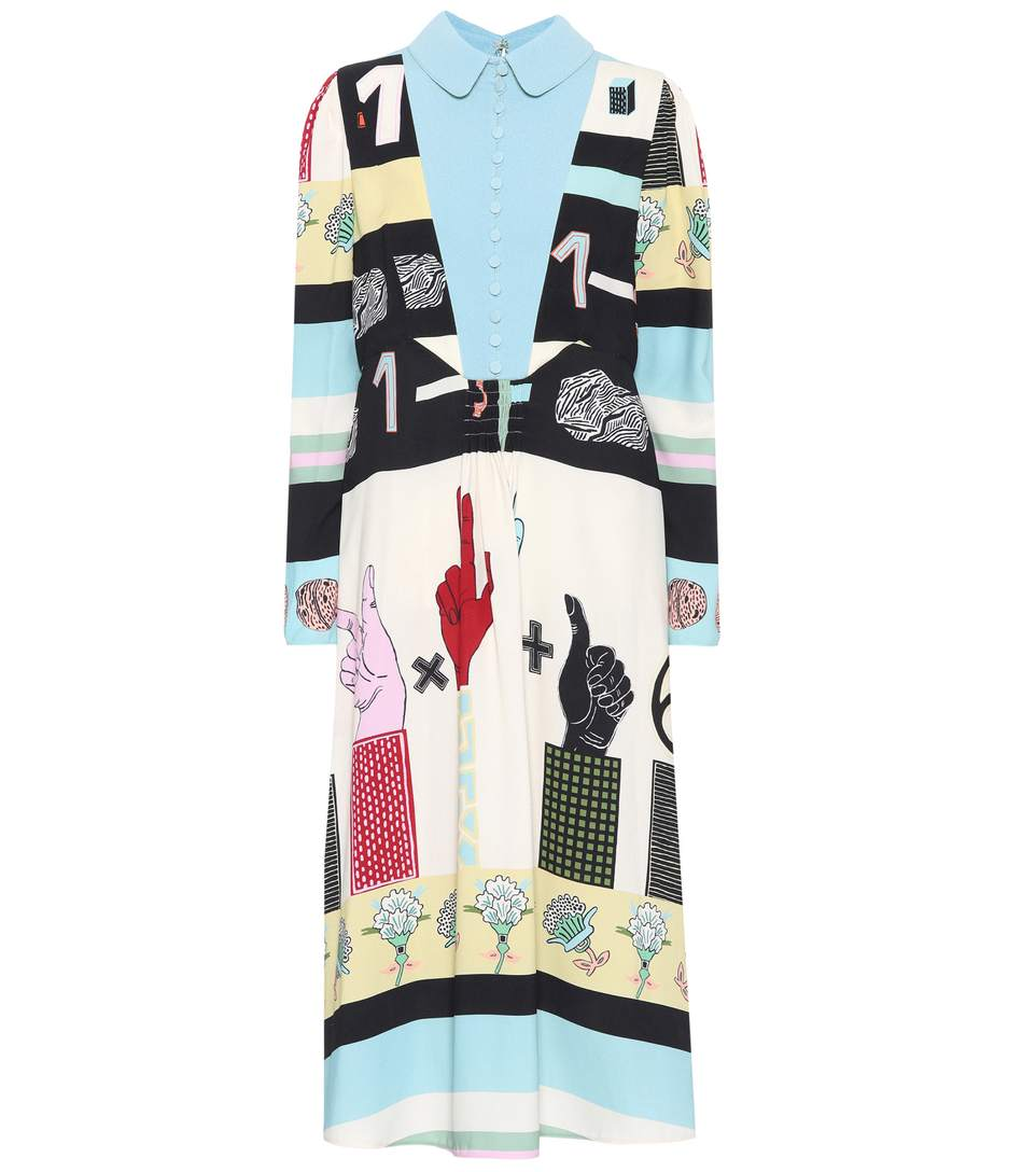 Valentino Printed CrÊpe Dress In Ivory