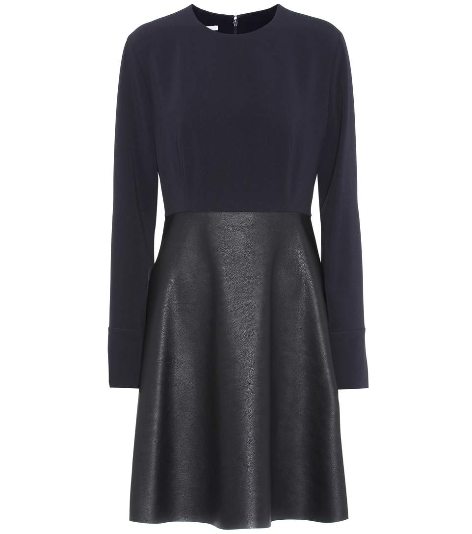 Stella Mccartney Alter Leather & Stretch Cady Dress In Black