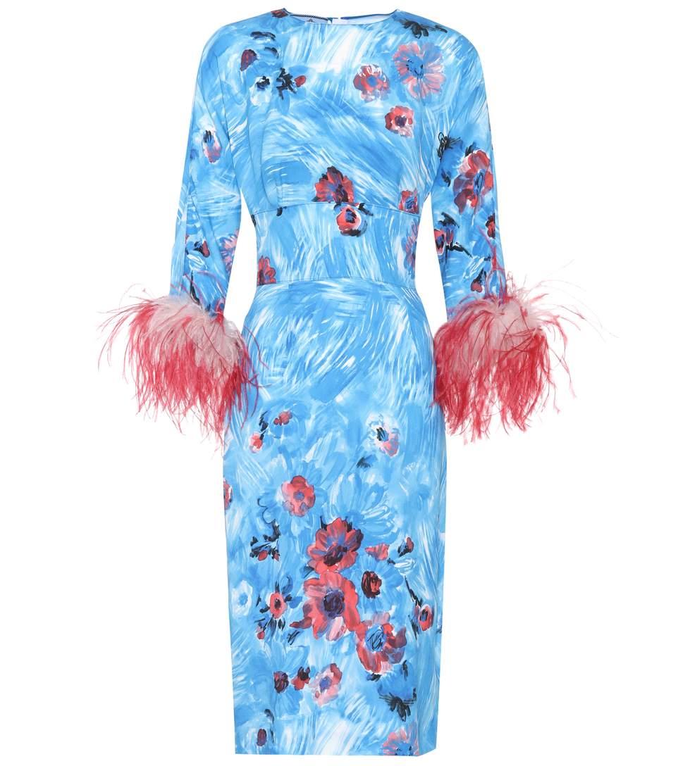 Prada Feather-trimmed Printed Dress