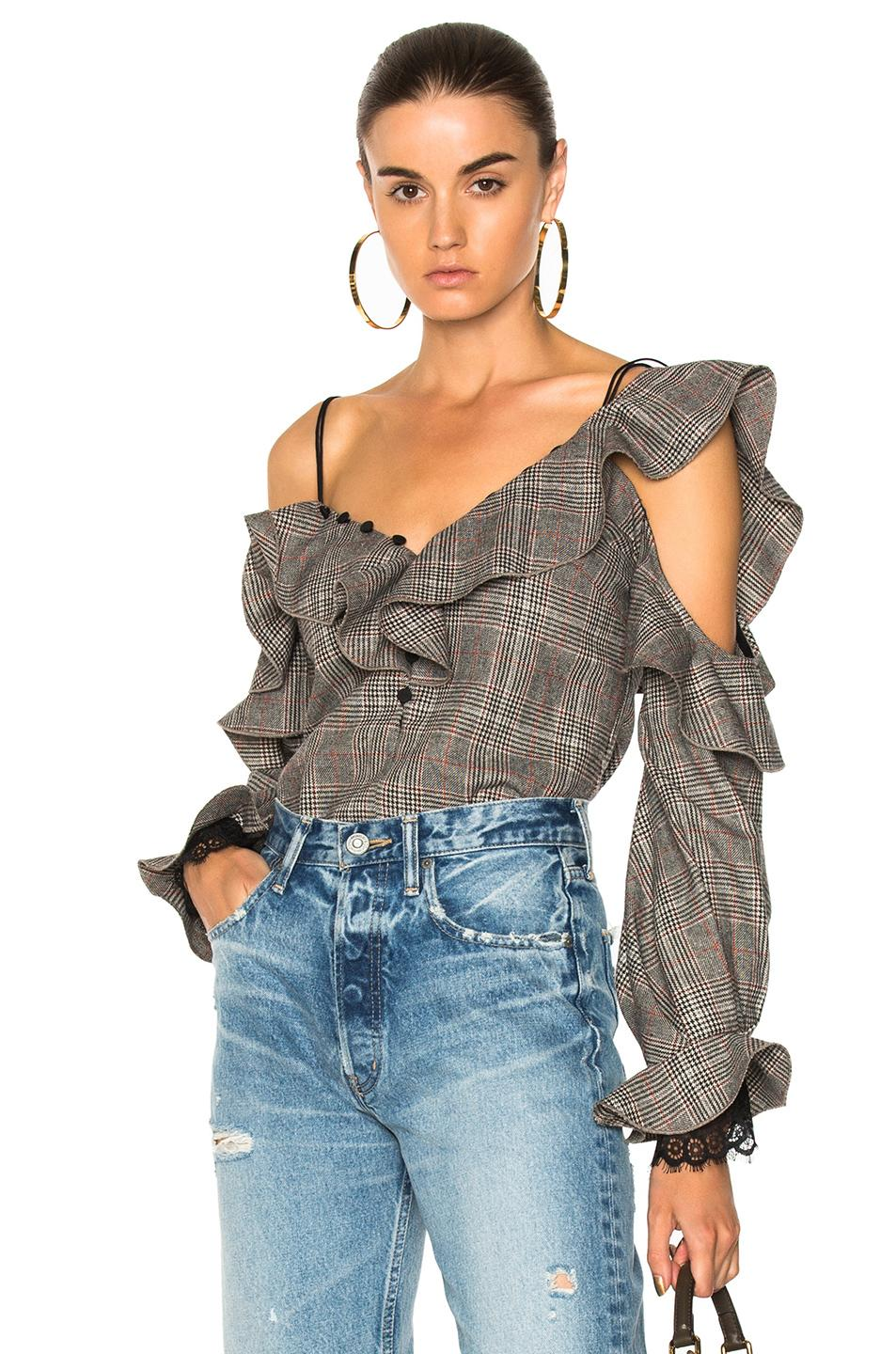 Self-portrait Off-the-shoulder Check Wool Frill Top In Checkered & Plaid,neutrals
