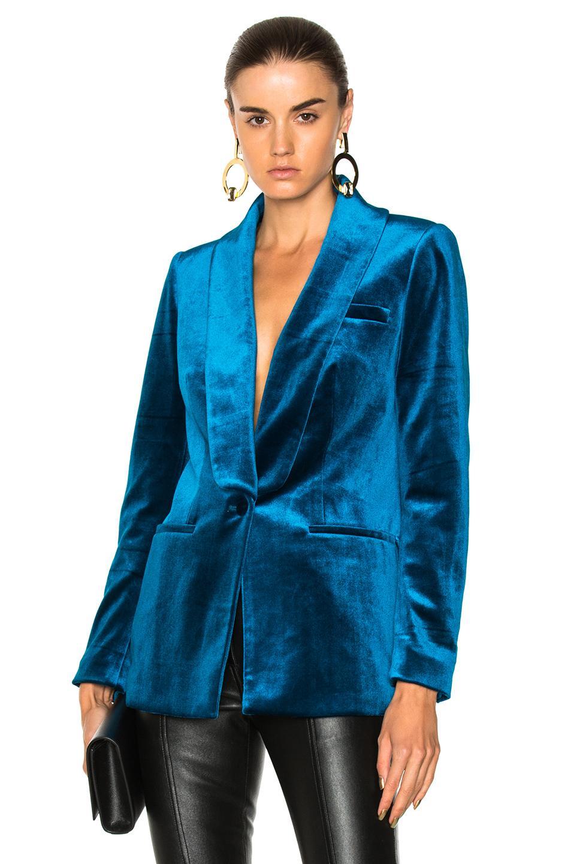 Self-portrait Elf-portrait Teal Velvet Jacket Blue-med
