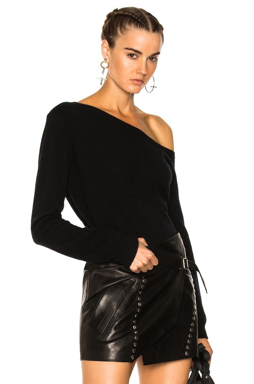Rta Claudine One Shoulder Sweater In Noir