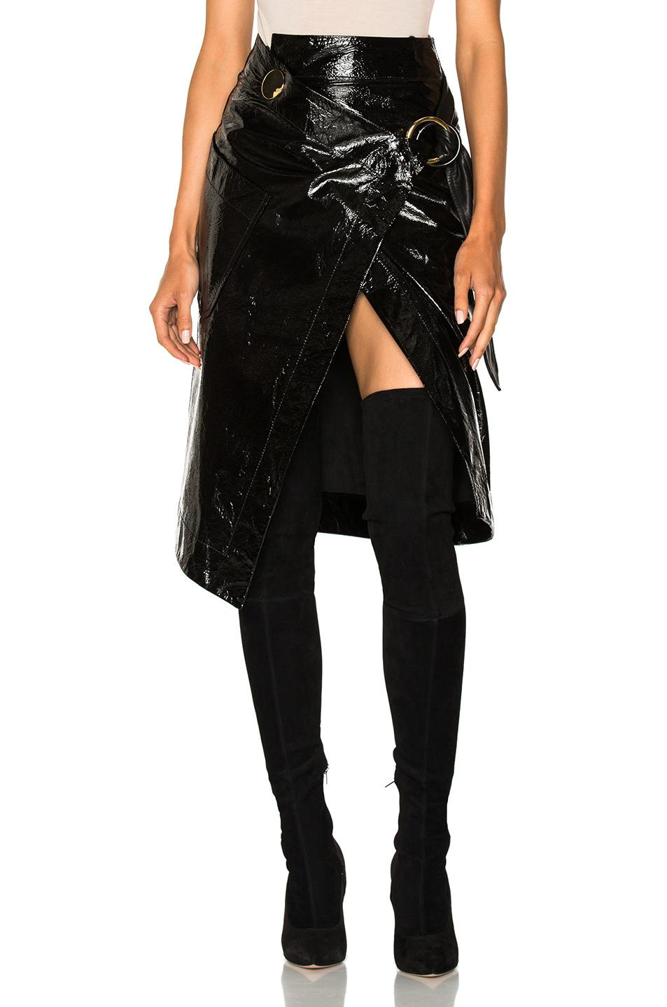 Petar Petrov Ruth Patent-leather Wrap Skirt In Black