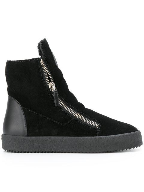 b4af11661a86a1 Giuseppe Zanotti Women s Suede   Shearling High Top Sneakers In ...