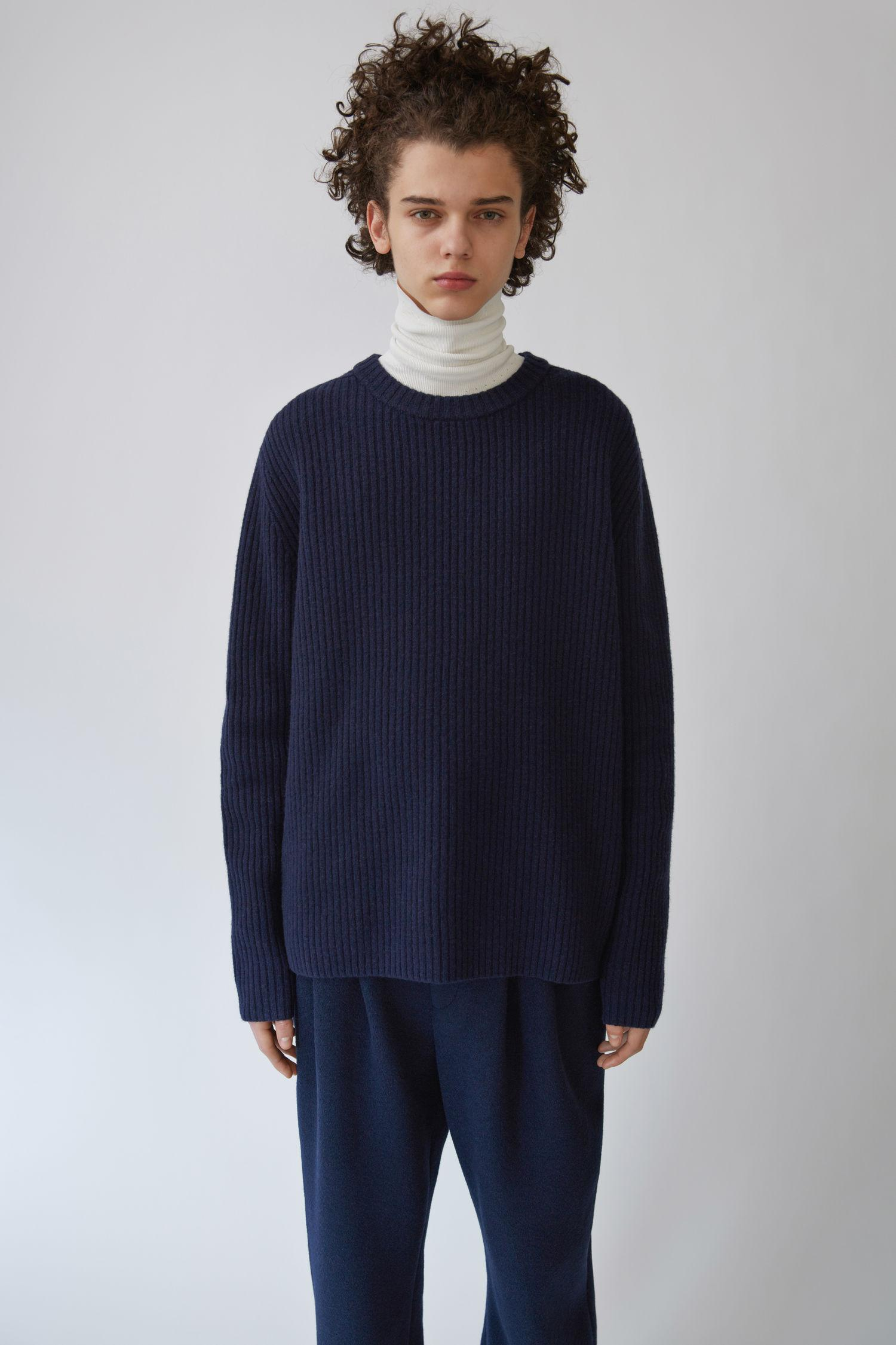 Acne Studios Nicholas Ribbed Wool Sweater In Navy