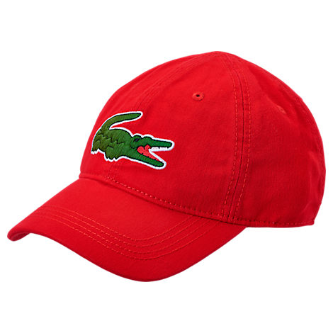Lacoste 'big Croc' Logo Embroidered Cap - Red