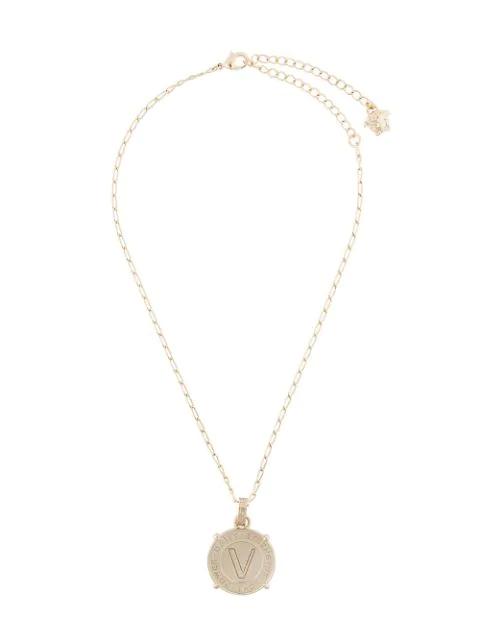 Versace V Logo-engraved Pendant Necklace In Gold