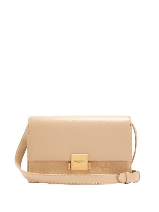 Saint Laurent Bellechasse Medium Leather/suede Satchel Bag In Asphalt