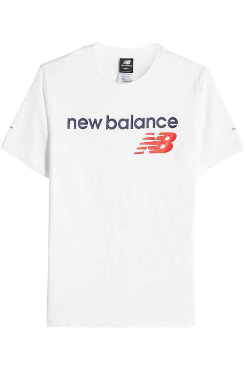 New Balance Printed Cotton T-shirt In White