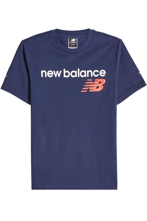 New Balance Printed Cotton T-shirt In Blue