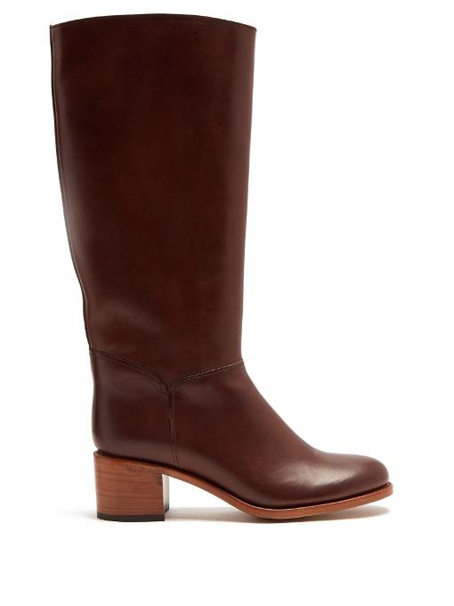 f0716d1d0ae A.P.C. Iris Block-Heel Leather Knee-High Boots In Dark Brown