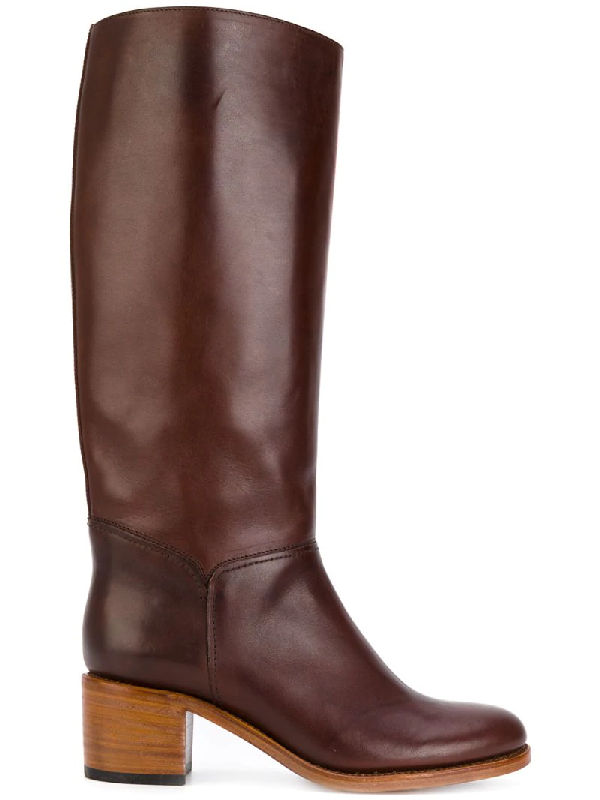 A.p.c. Iris Block-heel Leather Knee-high Boots In Dark Lrowe