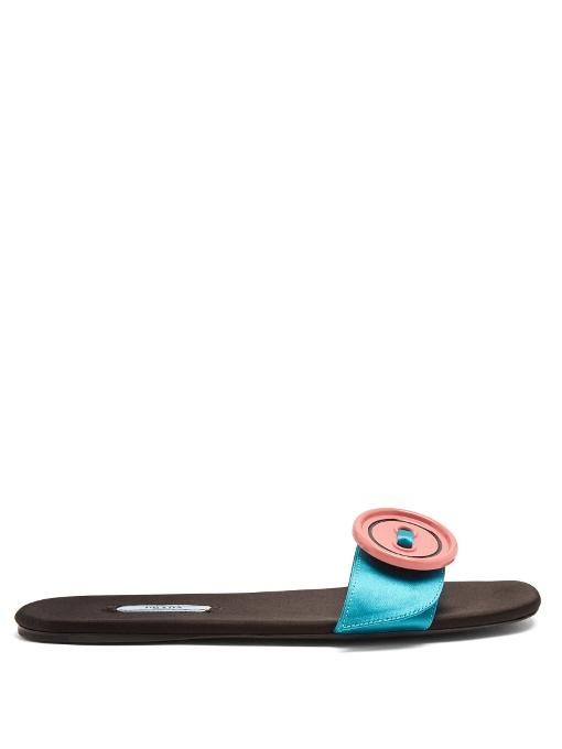 Prada Satin Oversized-button Embellished Slides In Turquoise