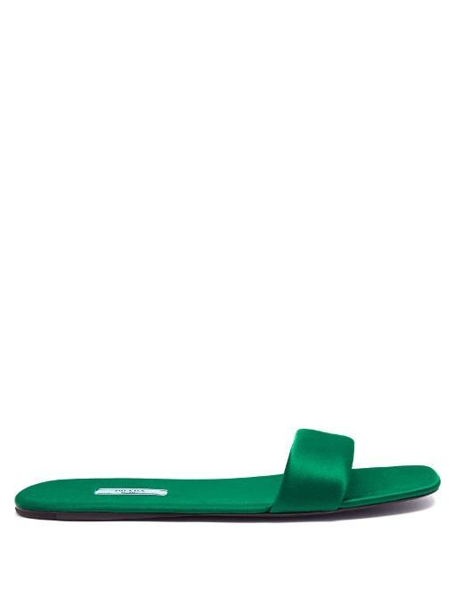Prada Satin Slides In Green