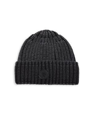 Moncler Folded Knit Wool Beanie In Black