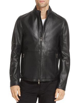 Hugo Boss Nabino Classic Leather Biker Jacket In Black