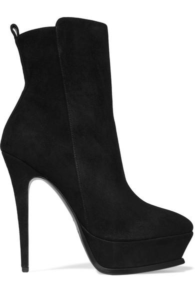 Saint Laurent Tribute Suede Platform Ankle Boots In Black