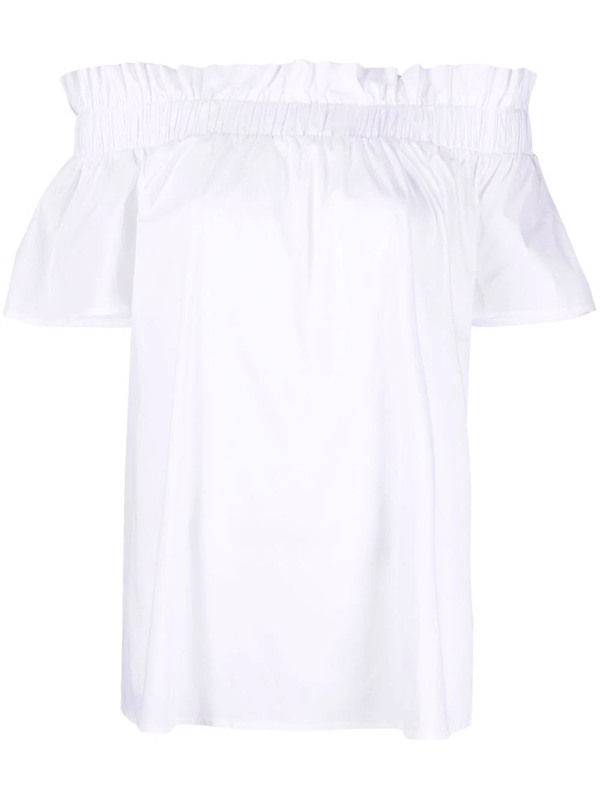 Alessia Santi Ruffled Off-shoulder Top In Weiss