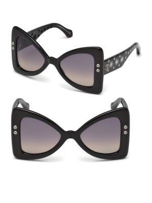 Roberto Cavalli 50mm Oversize Butterfly Sunglasses In Black