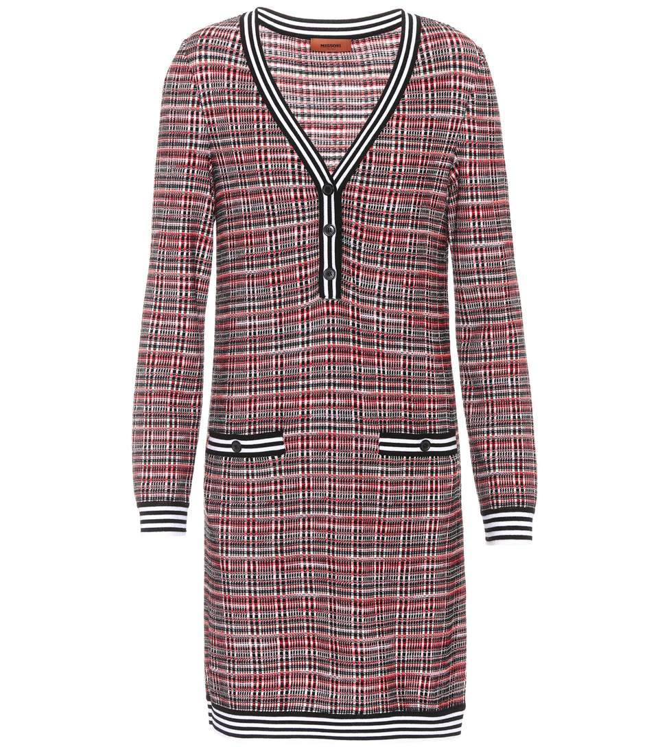 Missoni Knitted Wool-blend Dress In Red